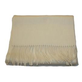 Alashan Merino/ Cashmere Woven Scarf - White