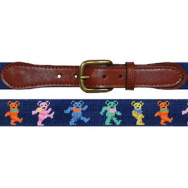 Smathers & Branson Dancing Bears Needlepoint Belt - Navy