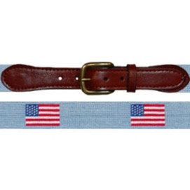 Smathers & Branson American Flag Needlepoint Belt - Antique Blue