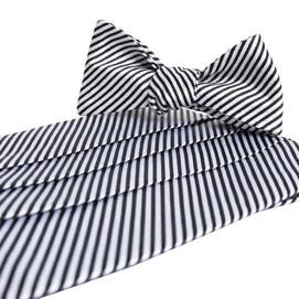 Collared Greens Signature Series Stripes Cummerbund Set - Black