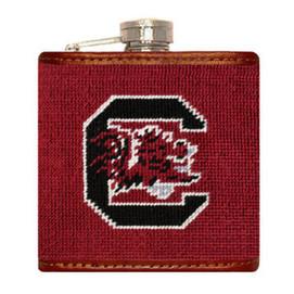 Smathers & Branson South Carolina Needlepoint Flask - Garnet