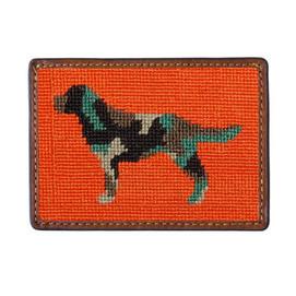 Smathers & Branson Camo Retriever Needlepoint Card Wallet - Orange