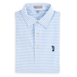 Peter Millar University of North Carolina E4 Performance Stripe Polo w/ Tarheel - Blue