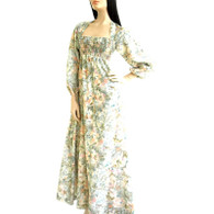 Vintage 1970s Bohemian Floral Smocked Empire Maxi Dress