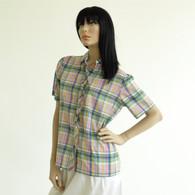 Vintage 1970s 80s Preppy Plaid Ruffle Shirt