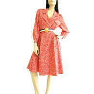 Vintage 1970s Schrader Red Print Nautical Dress