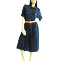 Vintage 1980s Navy Silk Military Pleated Shirtdress