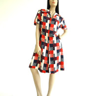 Vintage 1960s Red Dot Patriotic Silk Print Dress