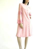 Vintage 1960s Pink Wool A Line Dress NWT