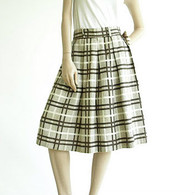 Vintage 1950's Brown/Cream Waffle Weave Plaid Skirt
