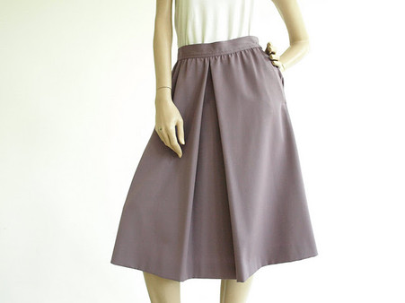 Vintage 1970's/1980's Barry Bricken Lilac Midi Pleat Skirt
