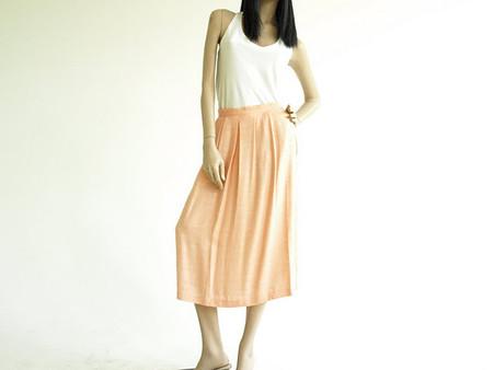 Vintage 1970's Peach Flax Midi Skirt