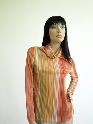 Vintage 1970s Perception Coral Stripe Turtleneck Shirt
