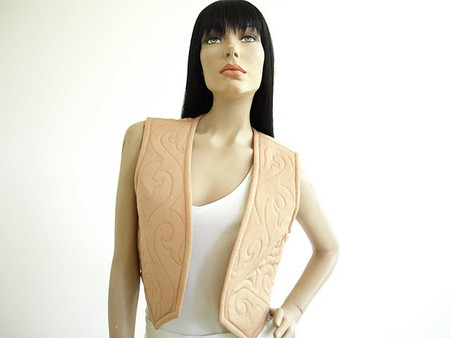 Vintage 1970s Malcolm Starr Peach Scroll Vest