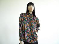 Vintage Tess Dark Cabbage Floral Blouse Shirt