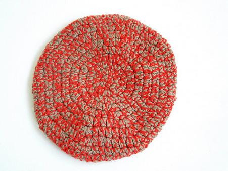 Vintage Handknit Crochet Red/Tan Beret Hat