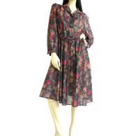 Vintage 1970s California Looks Dark Floral Dress