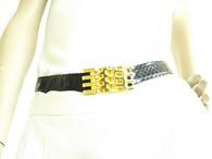 Vintage 1980s Black Abbi Snakeskin/Gold Belt