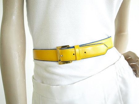 Vintage 1980s Yellow Guy Laroche Leather Belt
