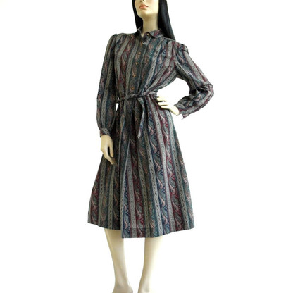 Vintage 1970s Hunter Green Paisley Schrader Sport Dress