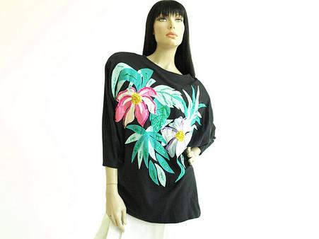 Vintage 1980s Bonnie Boerer Black Tropical Sequin Shirt