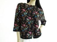 Vintage Jantzen Black Floral Sparkle Sweater