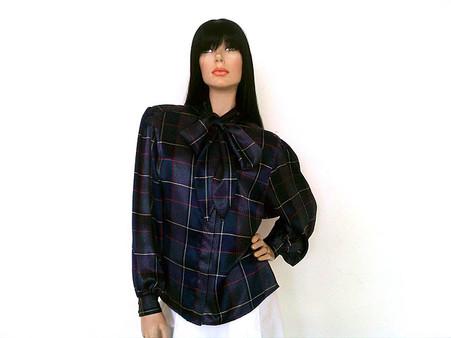 Vintage 1980s Argenti Navy Plaid Necktie Blouse