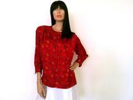 Vintage 1980s Oscar de la Renta Expression Red Flora Print Blouse
