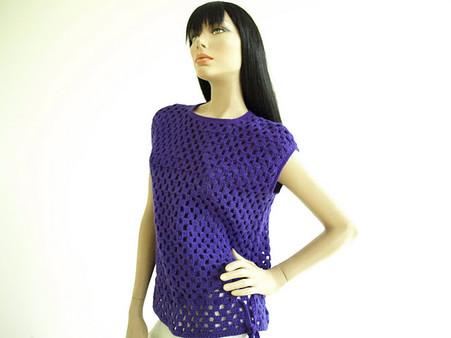 Vintage 1970s Purple Crochet Handknit Sweater Vest