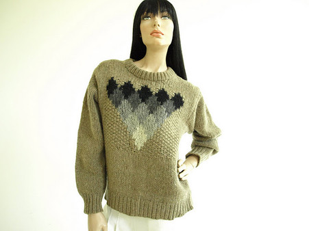 Vintage 1970s Taupe Handknit Wool Sweater