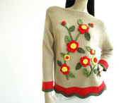Vintage 1950s Tarni Tan Floral Applique Sweater