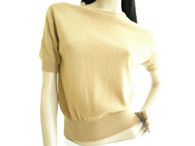 Vintage 1950s Cashmere Sweater - Maurice Handler Tan Crew Neck Sweater