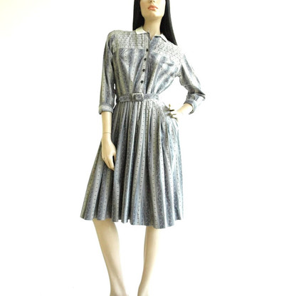 Vintage 1950s Blue Striped Paisley Print Shirt Dress