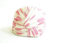 Vintage Adolfo Cream Turban with Pink Polka Dots Hat