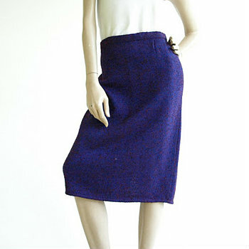 Vintage 1980's St John Purple Knit Straight Skirt