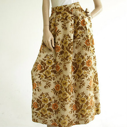 Vintage 1960's/1970's Floral Chenille Maxi Skirt