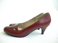Vintage Selby Crimson Red Peek A Boo Pump