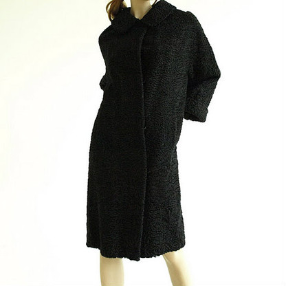 Vintage Black Persian Lamb Fur Coat by Pelz-Gusik