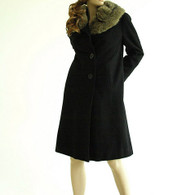 Vintage 1950s Black Coat - Shagmoor Fur Collar Wool Coat