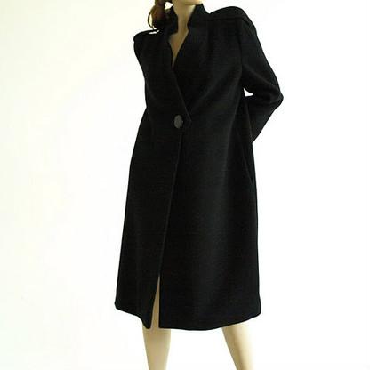 Vintage 1980s Pauline Trigere Black Wool Coat