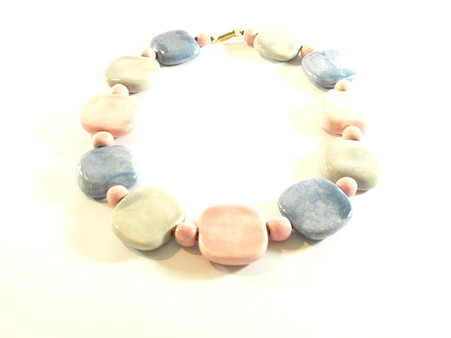 Vintage Art Jewelry- Pastel Ceramic Disk Necklace at Borough Vintage.
