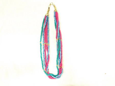 Vintage Tropical Beaded Necklace - 5 Strand Twist at Borough Vintage.