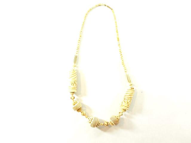 Vintage Jewelry Vintage Cream Hand Carved Bone Necklace