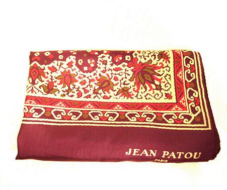 Vintage Designer Jean Patou Purple Paisley Oblong Scarf
