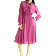 Vintage 1970s Queens Row Fuchsia Secretary Dress