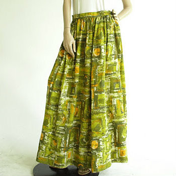 Vintage 1960's Olive Painted Maxi Skirt