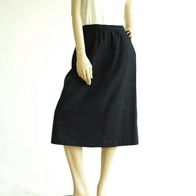 Vintage A-Line Black Wool Midi Skirt