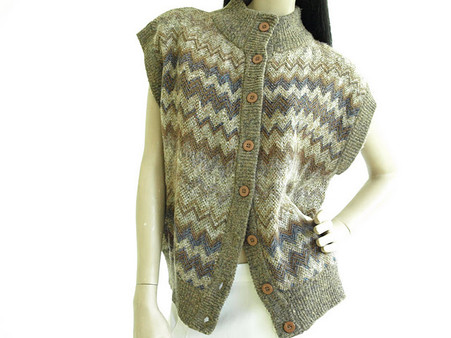 Vintage Brown Chevron Short Vest Sweater