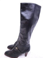 Vintage Black Leather Knee High Boots