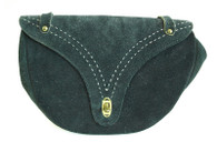 Vintage 1960's/1970's Navy Purse Suede Saddle Shoulder Bag